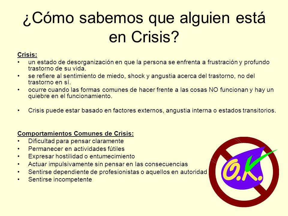 ¿Cómo sabemos que alguien está en Crisis.