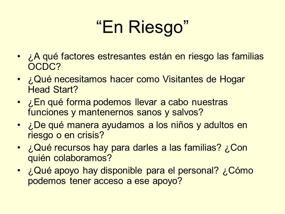 En Riesgo ¿A qué factores estresantes están en riesgo las familias OCDC.