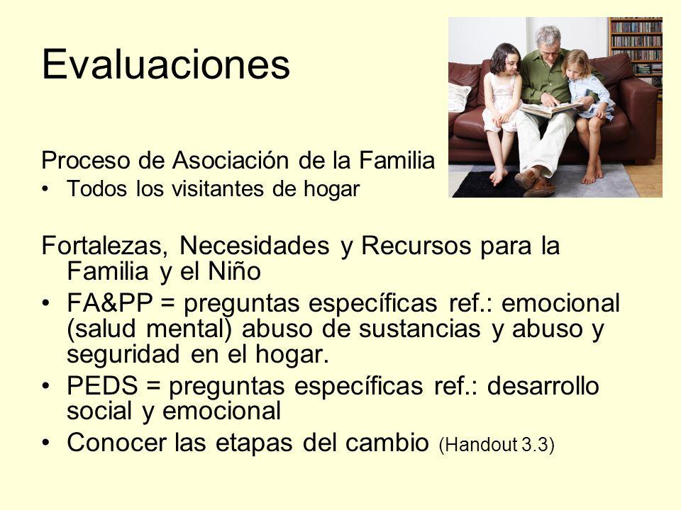 Evaluaciones Proceso de Asociación de la Familia Todos los visitantes de hogar Fortalezas, Necesidades y Recursos para la Familia y el Niño FA&PP = preguntas específicas ref.: emocional (salud mental) abuso de sustancias y abuso y seguridad en el hogar.