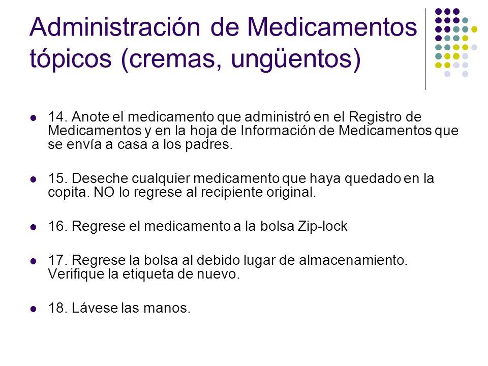 Administración de Medicamentos tópicos (cremas, ungüentos) 14. Anote el medicamento que administró en el Registro de Medicamentos y en la hoja de Info
