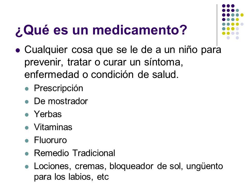 ¿Qué es un medicamento? Cualquier cosa que se le de a un niño para prevenir, tratar o curar un síntoma, enfermedad o condición de salud. Prescripción