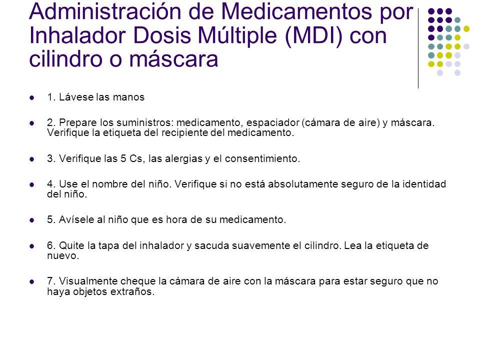 Administración de Medicamentos por Inhalador Dosis Múltiple (MDI) con cilindro o máscara 1. Lávese las manos 2. Prepare los suministros: medicamento,