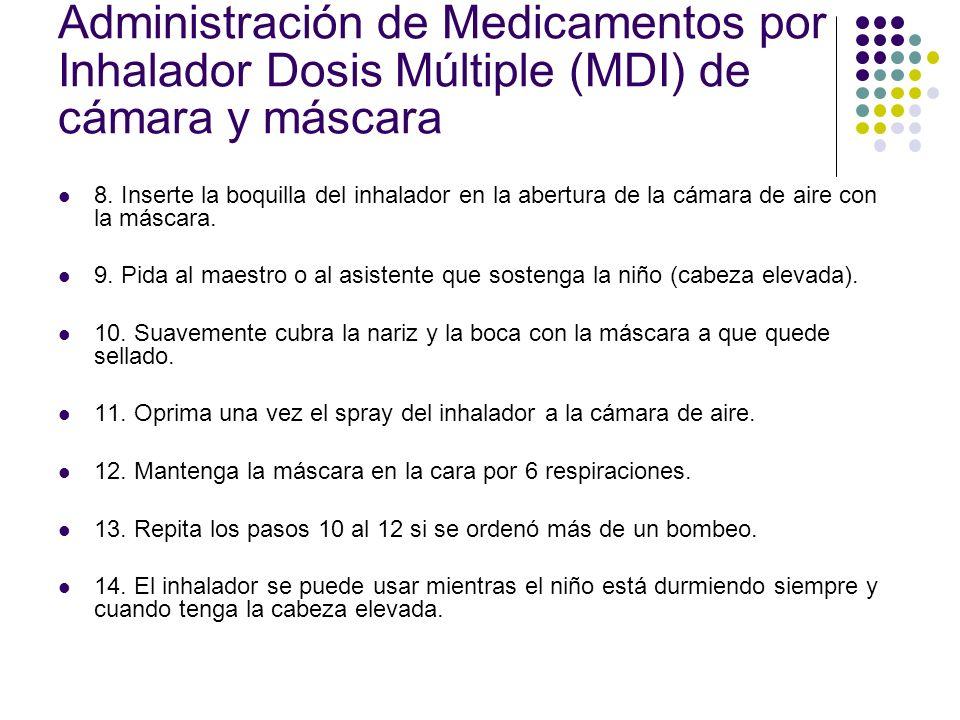 Administración de Medicamentos por Inhalador Dosis Múltiple (MDI) de cámara y máscara 8. Inserte la boquilla del inhalador en la abertura de la cámara
