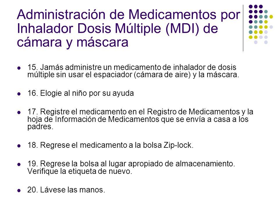 Administración de Medicamentos por Inhalador Dosis Múltiple (MDI) de cámara y máscara 15. Jamás administre un medicamento de inhalador de dosis múltip