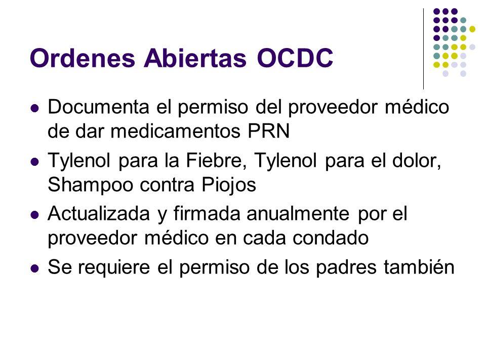 Ordenes Abiertas OCDC Documenta el permiso del proveedor médico de dar medicamentos PRN Tylenol para la Fiebre, Tylenol para el dolor, Shampoo contra
