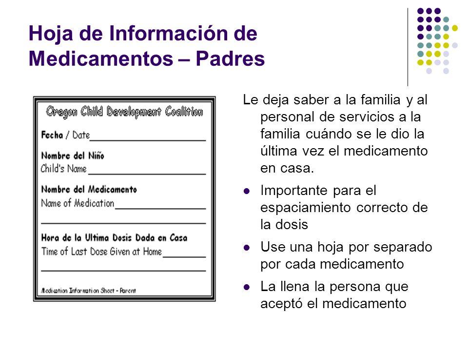 Hoja de Información de Medicamentos – Padres Le deja saber a la familia y al personal de servicios a la familia cuándo se le dio la última vez el medi