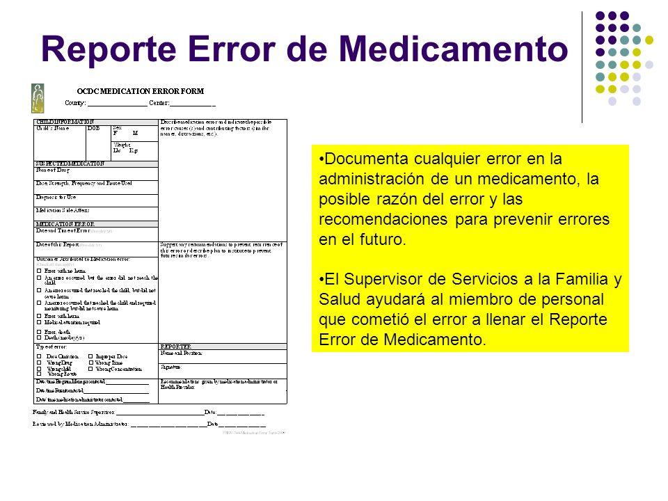 Reporte Error de Medicamento Documenta cualquier error en la administración de un medicamento, la posible razón del error y las recomendaciones para p