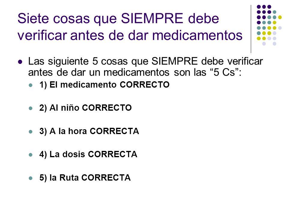 Siete cosas que SIEMPRE debe verificar antes de dar medicamentos Las siguiente 5 cosas que SIEMPRE debe verificar antes de dar un medicamentos son las