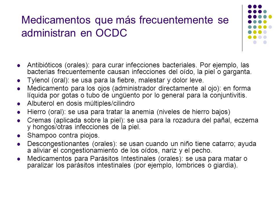 Medicamentos que más frecuentemente se administran en OCDC Antibióticos (orales): para curar infecciones bacteriales. Por ejemplo, las bacterias frecu