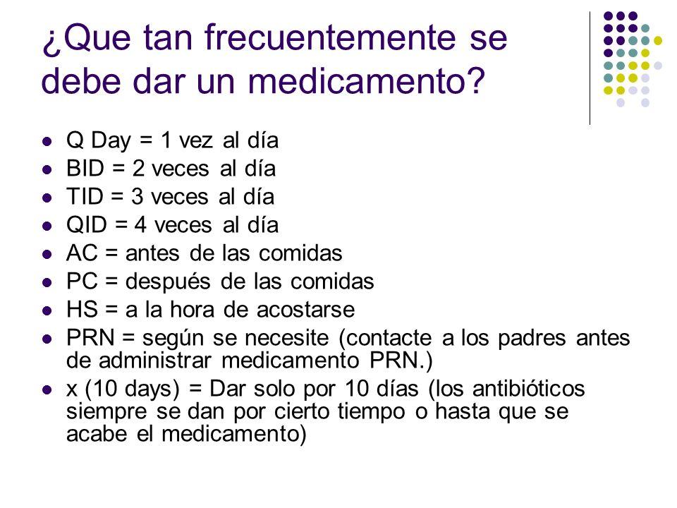 ¿Que tan frecuentemente se debe dar un medicamento? Q Day = 1 vez al día BID = 2 veces al día TID = 3 veces al día QID = 4 veces al día AC = antes de