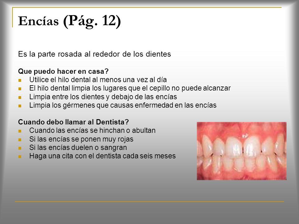 Encías (Pág.12) Es la parte rosada al rededor de los dientes Que puedo hacer en casa.