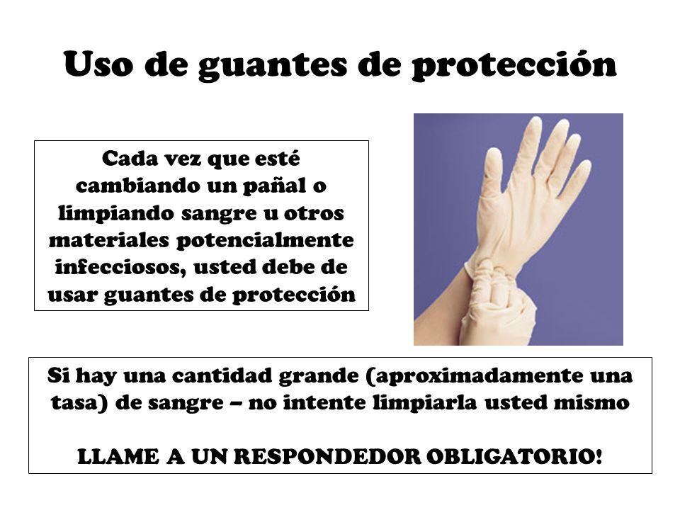 Para derrames de sangre … Use guantes y toallas de papel para limpiar la sangre.
