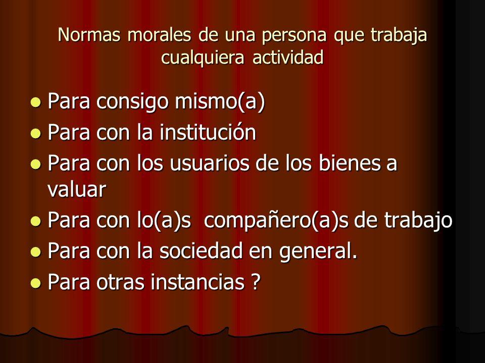 Normas morales de una persona que trabaja cualquiera actividad Para consigo mismo(a) Para consigo mismo(a) Para con la institución Para con la institu