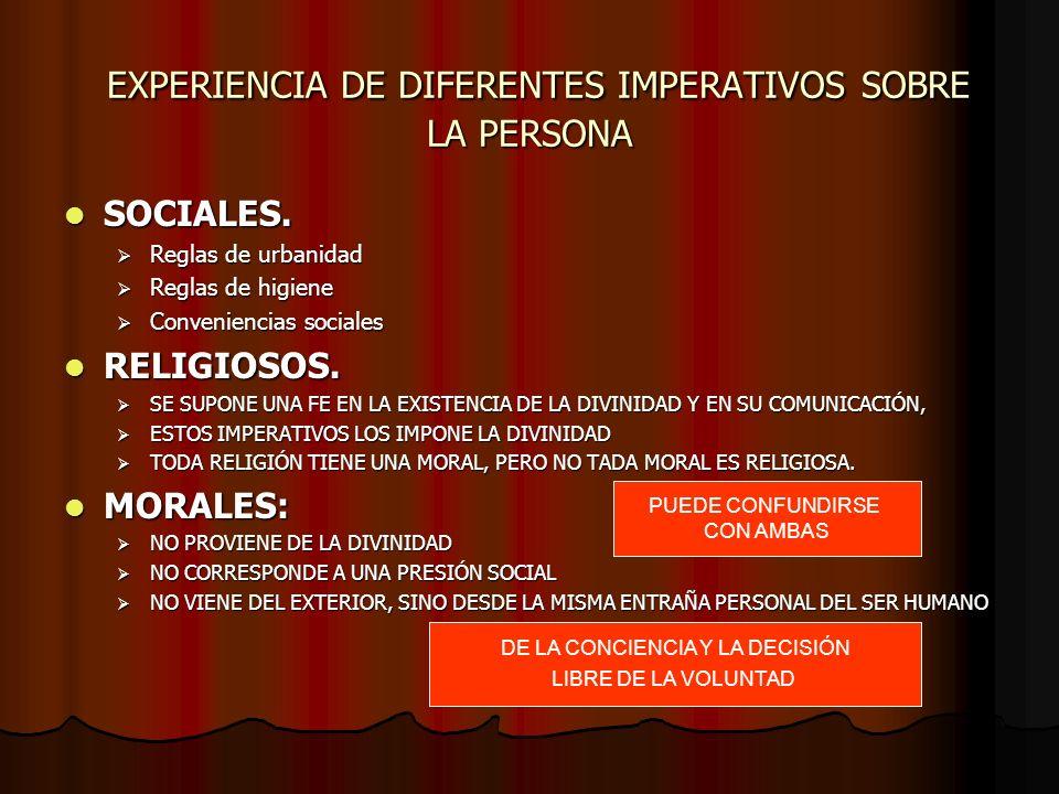 EXPERIENCIA DE DIFERENTES IMPERATIVOS SOBRE LA PERSONA EXPERIENCIA DE DIFERENTES IMPERATIVOS SOBRE LA PERSONA SOCIALES. SOCIALES. Reglas de urbanidad