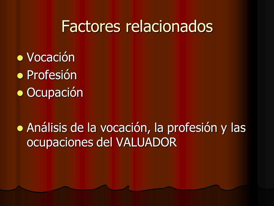 Factores relacionados Vocación Vocación Profesión Profesión Ocupación Ocupación Análisis de la vocación, la profesión y las ocupaciones del VALUADOR A