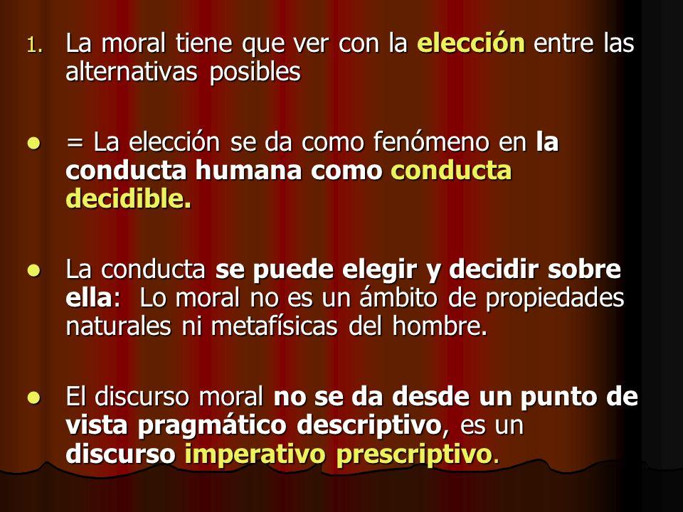 1. La moral tiene que ver con la elección entre las alternativas posibles = La elección se da como fenómeno en la conducta humana como conducta decidi