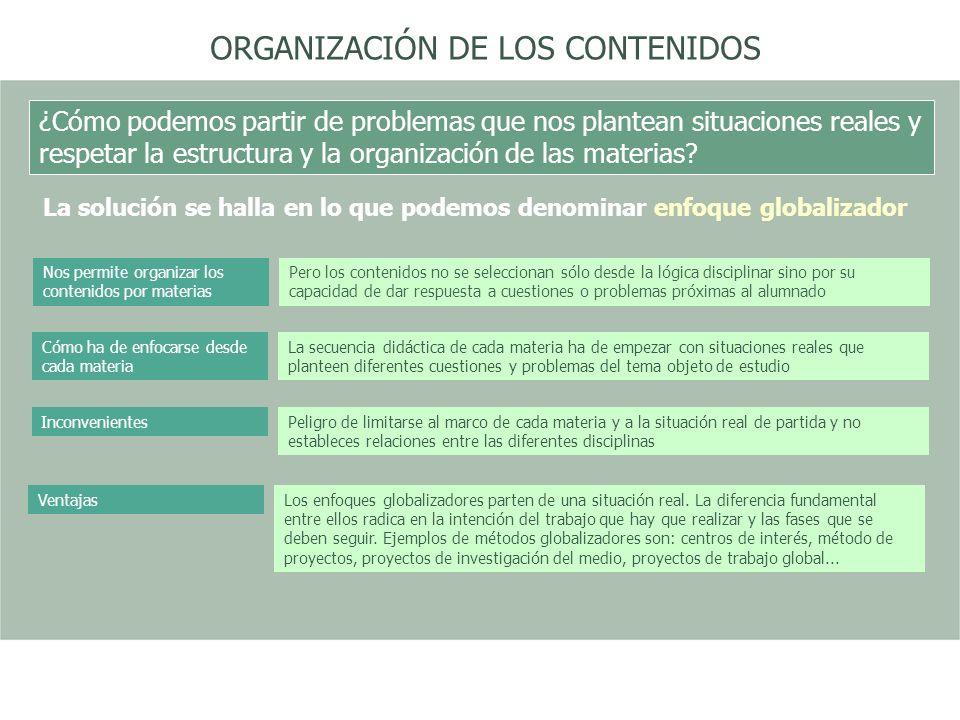 ORGANIZACIÓN DE LOS CONTENIDOS ¿Cómo podemos partir de problemas que nos plantean situaciones reales y respetar la estructura y la organización de las