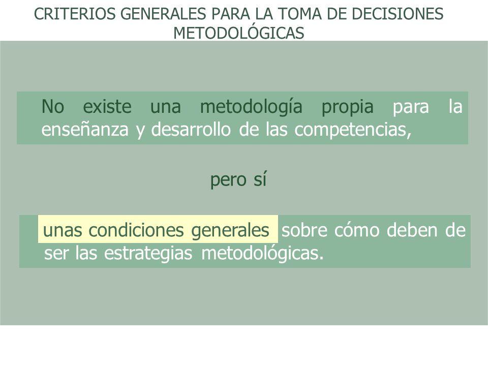 CRITERIOS GENERALES PARA LA TOMA DE DECISIONES METODOLÓGICAS No existe una metodología propia para la enseñanza y desarrollo de las competencias, pero