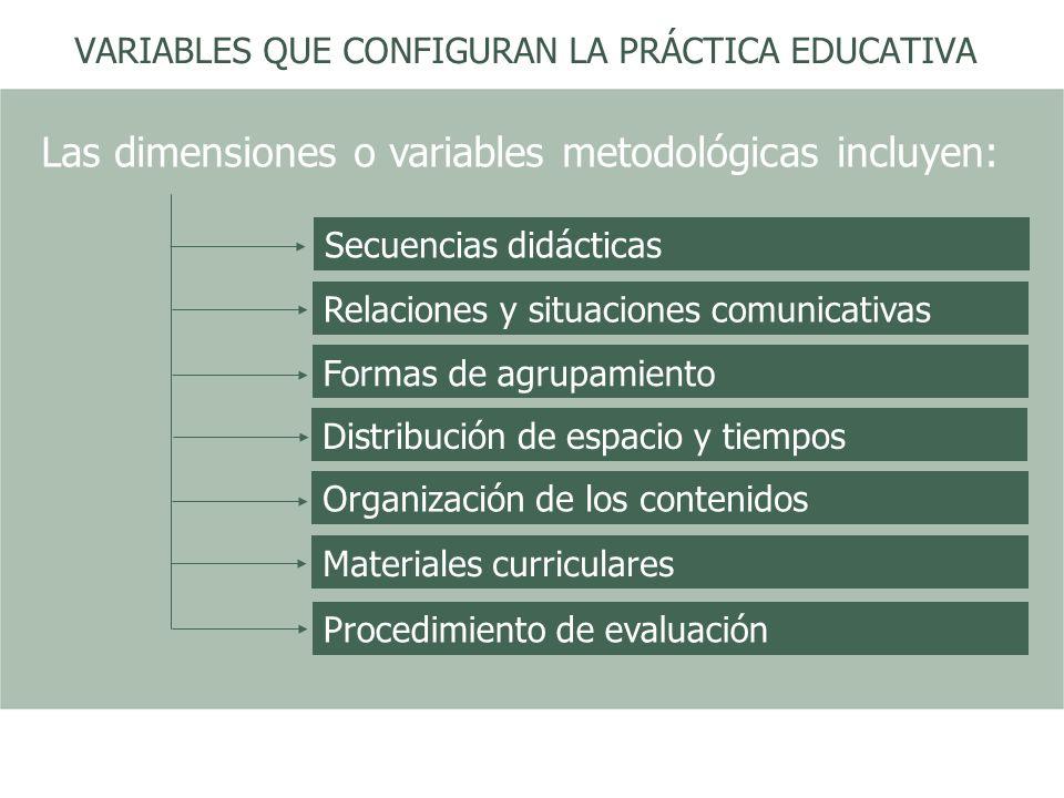 VARIABLES QUE CONFIGURAN LA PRÁCTICA EDUCATIVA Organización de los contenidos Distribución de espacio y tiempos Formas de agrupamiento Procedimiento d