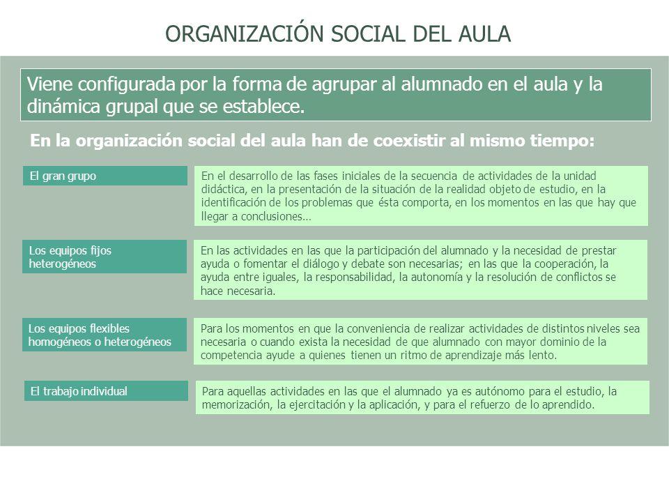 ORGANIZACIÓN SOCIAL DEL AULA Viene configurada por la forma de agrupar al alumnado en el aula y la dinámica grupal que se establece. En la organizació