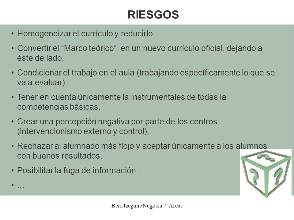 Berritzegune Nagusia / Áreas CULTURA CIENTÍFICA, TECNOLÓGICA Y DE LA SALUD COMPRENSIÓN DEL CONOCIMIENTO CIENTÍFICO EXPLICACIÓN DE LA REALIDAD NATURAL RECONOCIMENTO DE LOS RASGOS CLAVES DE LA INVESTIGACIÓN CIENTÍFICA UTILIZACIÓN DE LOS CONOCIMIENTOS CIENTÍFICOS EN LA TOMA DE DECISIONES Sub-competencia Analizar los desarrollos y aplicaciones tecnológicas más relevantes de nuestra sociedad, valorando críticamente las aportaciones de la ciencia y la tecnología al desarrollo humano y al desarrollo sostenible Sub-competencia Describir los principales problemas medioambientales resultado de la actividad humana, teniendo en cuenta sus causas y/o efectos.