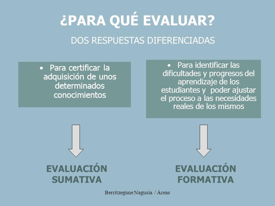 Berritzegune Nagusia / Áreas Para certificar la adquisición de unos determinados conocimientos Para identificar las dificultades y progresos del apren