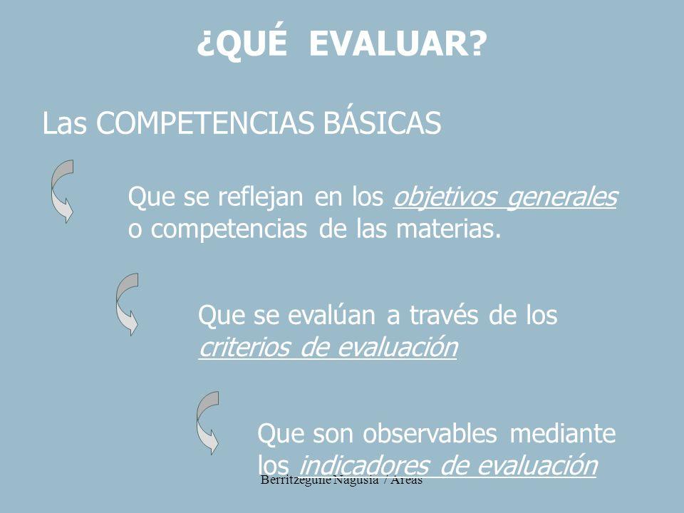 Berritzegune Nagusia / Áreas Las COMPETENCIAS BÁSICAS Que se reflejan en los objetivos generales o competencias de las materias. Que se evalúan a trav