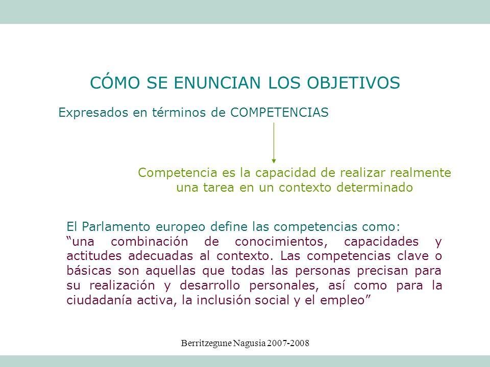Berritzegune Nagusia 2007-2008 Expresados en términos de COMPETENCIAS Competencia es la capacidad de realizar realmente una tarea en un contexto deter