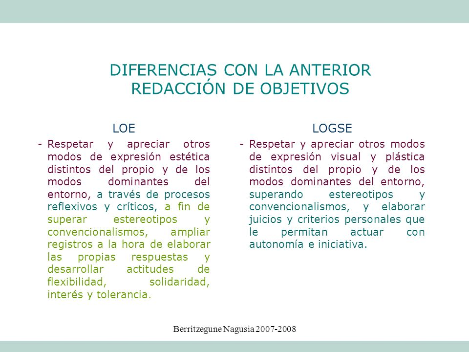 Berritzegune Nagusia 2007-2008 LOE -Respetar y apreciar otros modos de expresión estética distintos del propio y de los modos dominantes del entorno,