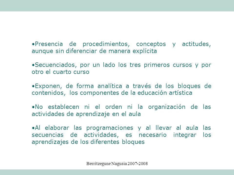 Berritzegune Nagusia 2007-2008 Presencia de procedimientos, conceptos y actitudes, aunque sin diferenciar de manera explícita Secuenciados, por un lad