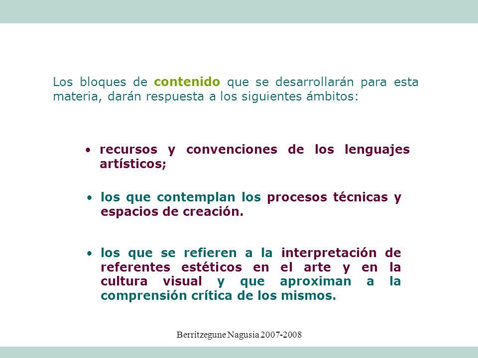 Berritzegune Nagusia 2007-2008 Los bloques de contenido que se desarrollarán para esta materia, darán respuesta a los siguientes ámbitos: los que se r