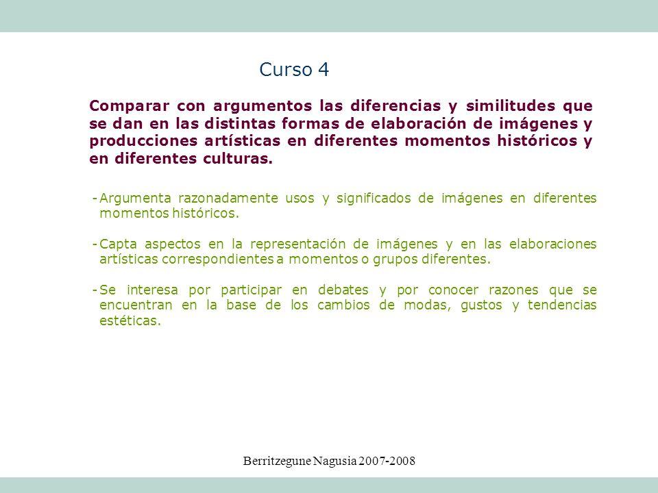 Berritzegune Nagusia 2007-2008 -Argumenta razonadamente usos y significados de imágenes en diferentes momentos históricos. -Capta aspectos en la repre