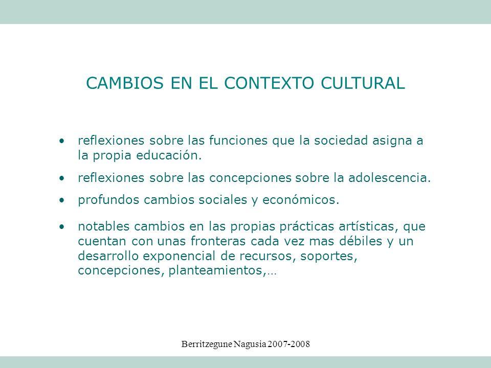 Berritzegune Nagusia 2007-2008 CAMBIOS EN EL CONTEXTO CULTURAL reflexiones sobre las funciones que la sociedad asigna a la propia educación. reflexion