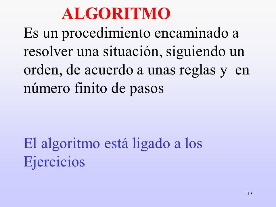 13 ALGORITMO Es un procedimiento encaminado a resolver una situación, siguiendo un orden, de acuerdo a unas reglas y en número finito de pasos El algo
