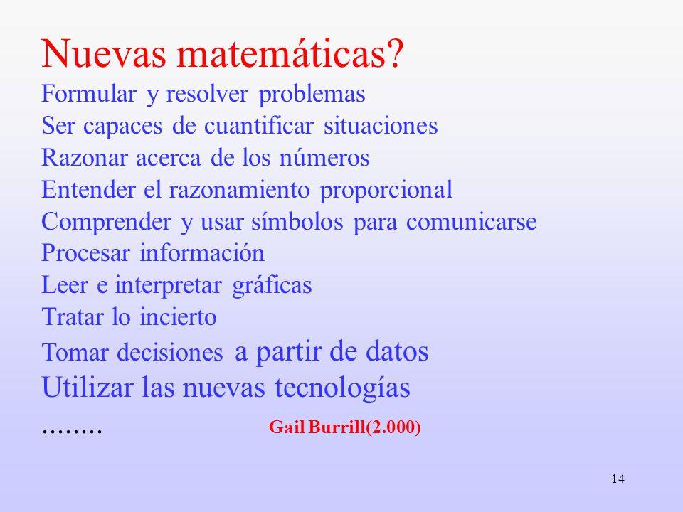 14 Nuevas matemáticas? Formular y resolver problemas Ser capaces de cuantificar situaciones Razonar acerca de los números Entender el razonamiento pro