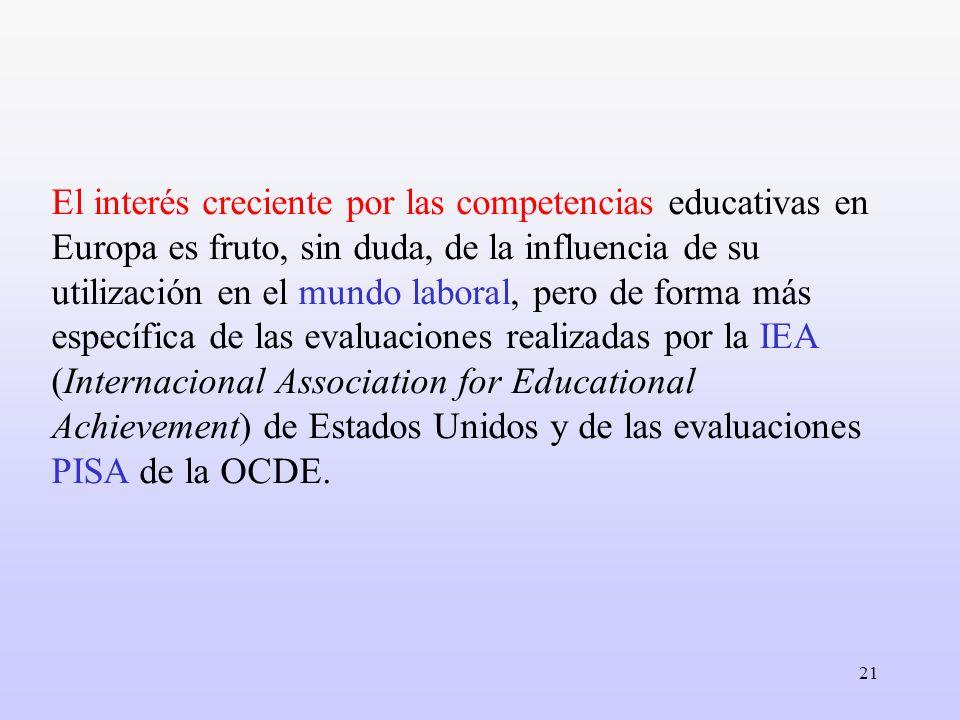 21 El interés creciente por las competencias educativas en Europa es fruto, sin duda, de la influencia de su utilización en el mundo laboral, pero de