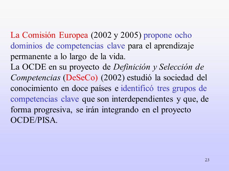 23 La Comisión Europea (2002 y 2005) propone ocho dominios de competencias clave para el aprendizaje permanente a lo largo de la vida. La OCDE en su p