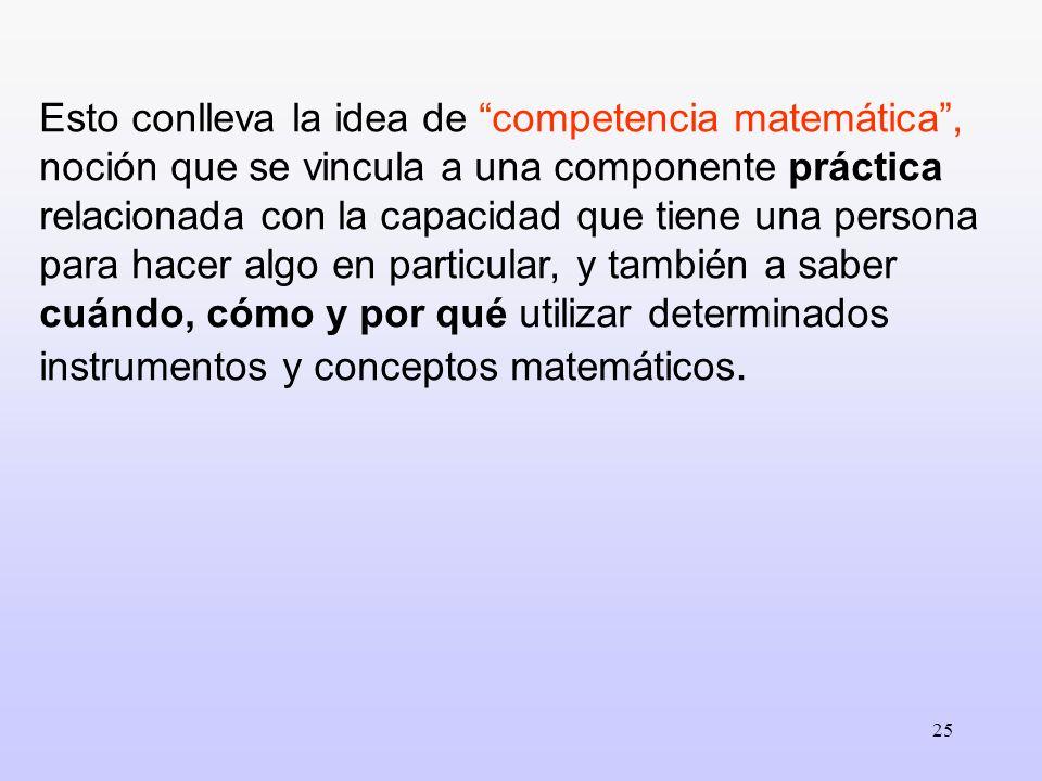 25 Esto conlleva la idea de competencia matemática, noción que se vincula a una componente práctica relacionada con la capacidad que tiene una persona