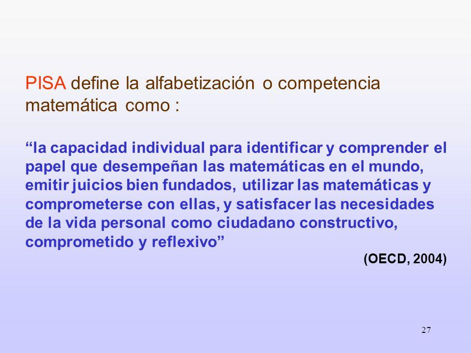 27 PISA define la alfabetización o competencia matemática como : la capacidad individual para identificar y comprender el papel que desempeñan las mat