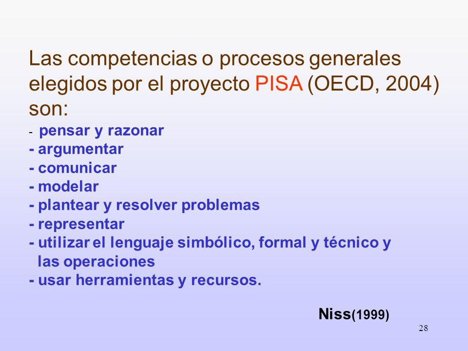28 Las competencias o procesos generales elegidos por el proyecto PISA (OECD, 2004) son: - pensar y razonar - argumentar - comunicar - modelar - plant