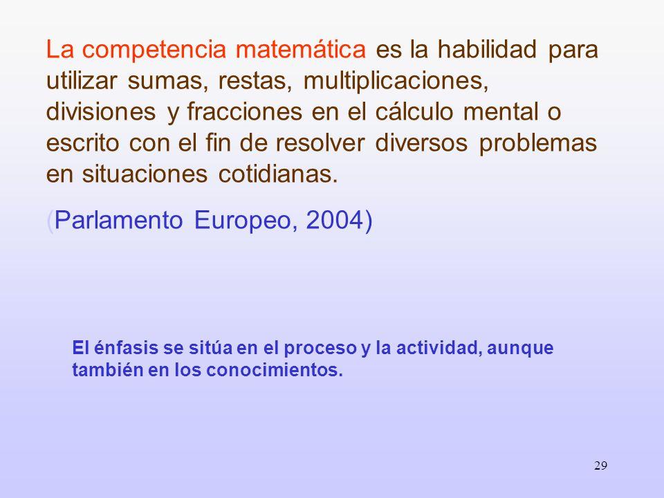 29 La competencia matemática es la habilidad para utilizar sumas, restas, multiplicaciones, divisiones y fracciones en el cálculo mental o escrito con