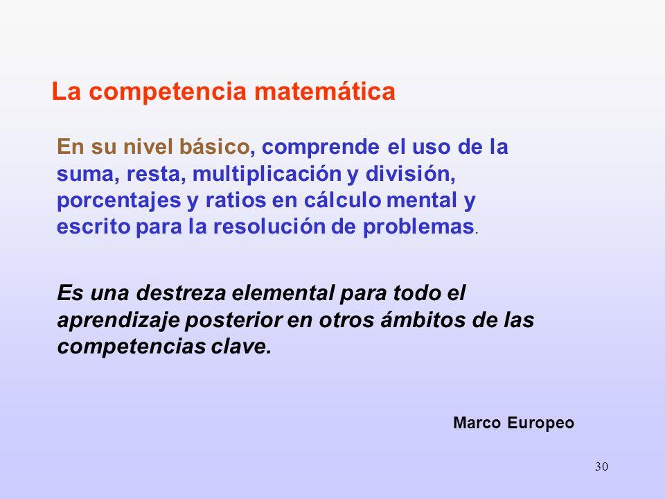 30 En su nivel básico, comprende el uso de la suma, resta, multiplicación y división, porcentajes y ratios en cálculo mental y escrito para la resoluc