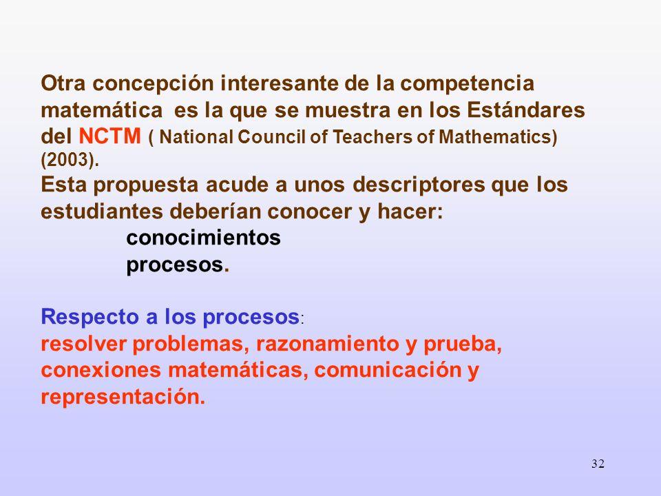 32 Otra concepción interesante de la competencia matemática es la que se muestra en los Estándares del NCTM ( National Council of Teachers of Mathemat