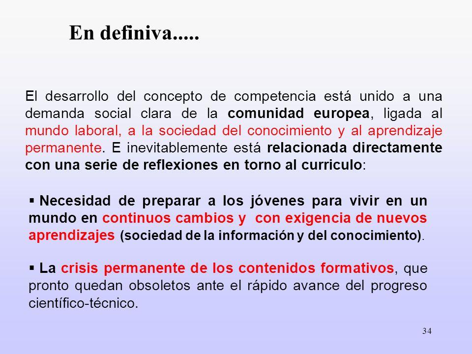 34 El desarrollo del concepto de competencia está unido a una demanda social clara de la comunidad europea, ligada al mundo laboral, a la sociedad del