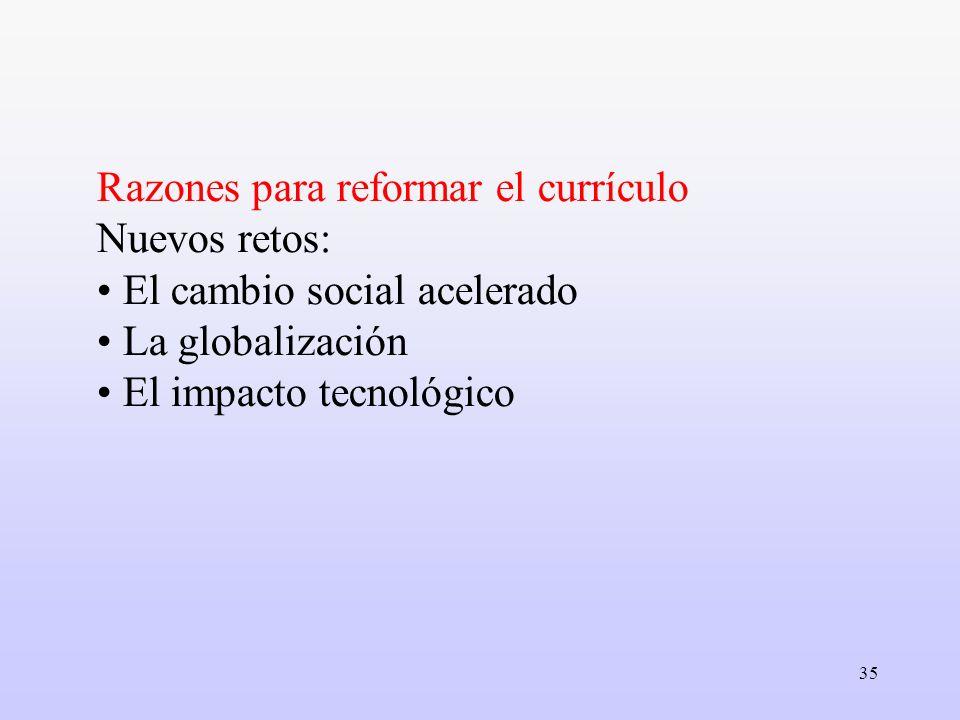 35 Razones para reformar el currículo Nuevos retos: El cambio social acelerado La globalización El impacto tecnológico