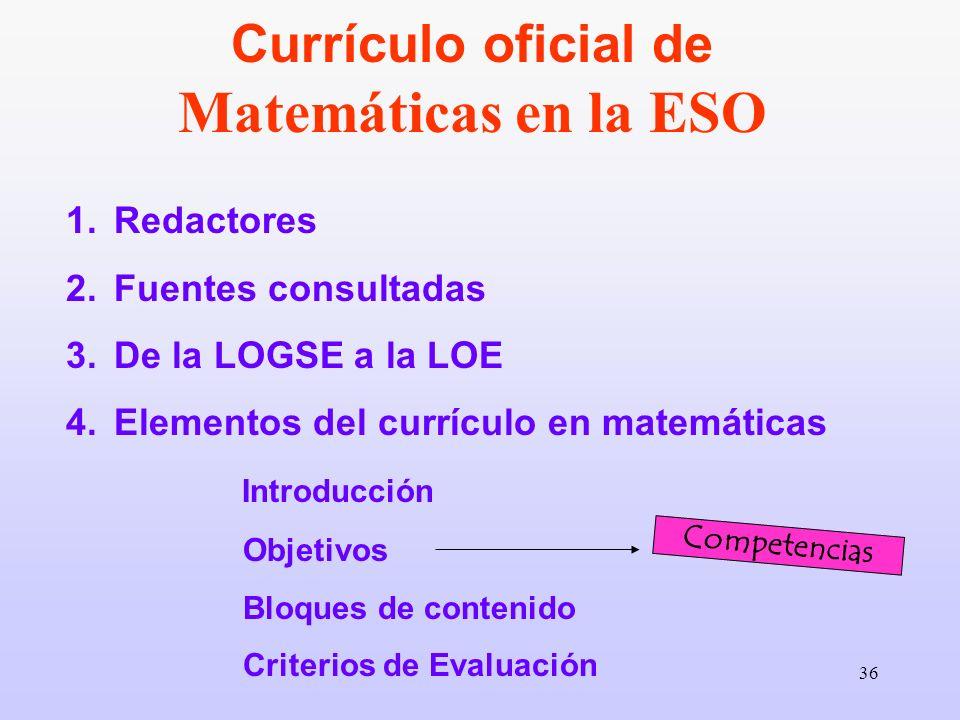 36 1.Redactores 2.Fuentes consultadas 3.De la LOGSE a la LOE 4.Elementos del currículo en matemáticas Introducción Objetivos Bloques de contenido Crit