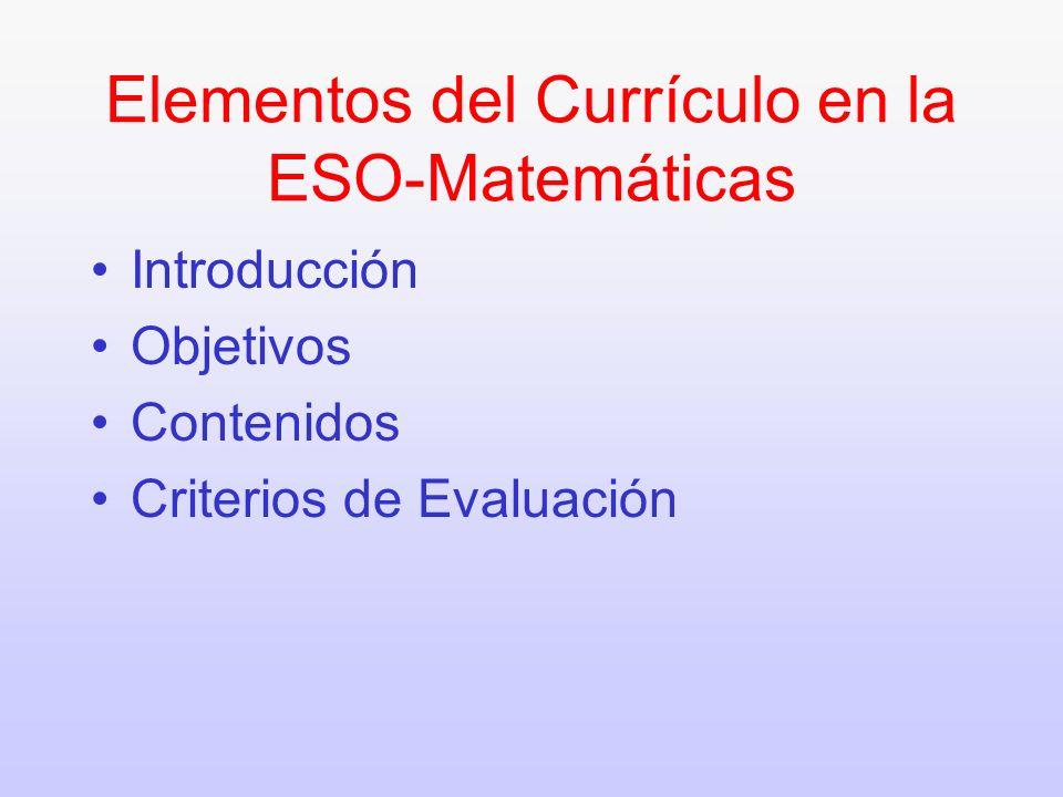 Elementos del Currículo en la ESO-Matemáticas Introducción Objetivos Contenidos Criterios de Evaluación