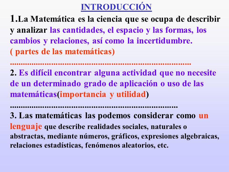 INTRODUCCIÓN 1. La Matemática es la ciencia que se ocupa de describir y analizar las cantidades, el espacio y las formas, los cambios y relaciones, as