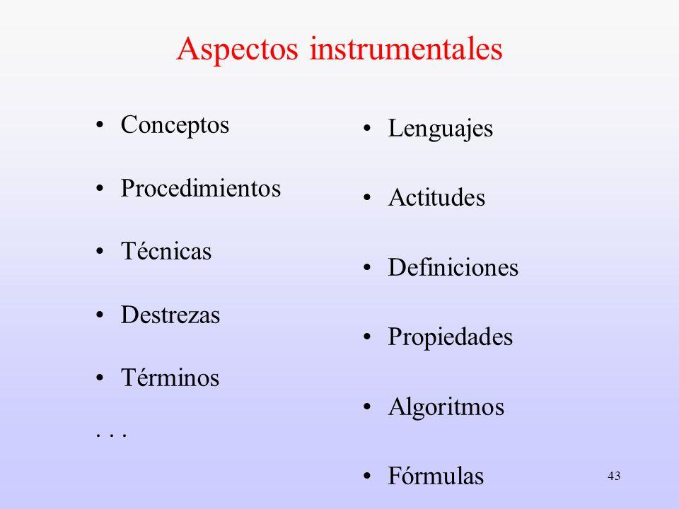 43 Aspectos instrumentales Conceptos Procedimientos Técnicas Destrezas Términos... Lenguajes Actitudes Definiciones Propiedades Algoritmos Fórmulas Mé