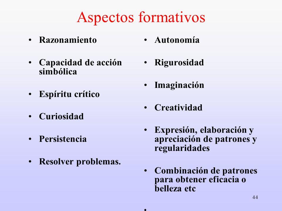 44 Aspectos formativos Razonamiento Capacidad de acción simbólica Espíritu crítico Curiosidad Persistencia Resolver problemas. Autonomía Rigurosidad I